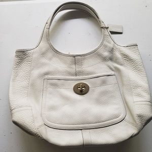 Coach ergonomic soho white pebble bag